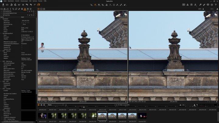 Testbild Sigma [A] 135 mm F1.8 DG HSM + Canon EOS 5Ds R | Bildschärfe am Bildrand bei f/1.8 (links) und f/5.6 (rechts)
