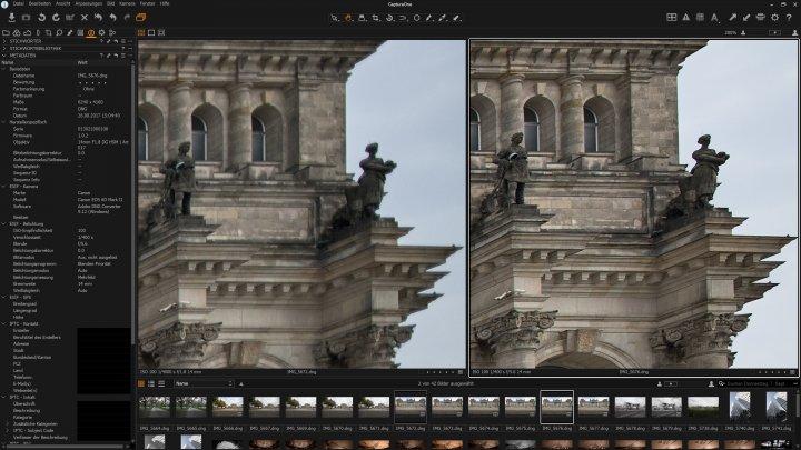 Sigma 14 mm f/1.8 DG HSM ART: Bildschärfe am Bildrand bei f/1,8 (links) und f/5.6 (rechts)