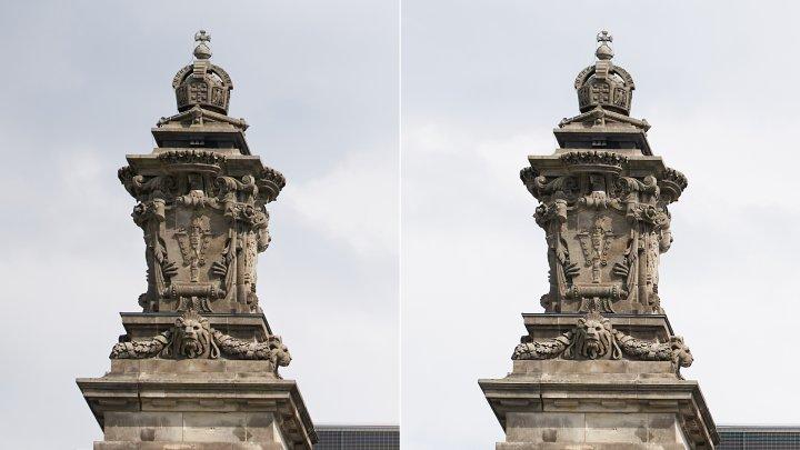 Sigma A 85 mm F1.4 DG DN ART | Bildschärfe am Bildrand bei f/1.4 (li.) und f/5.6 im Vergleich