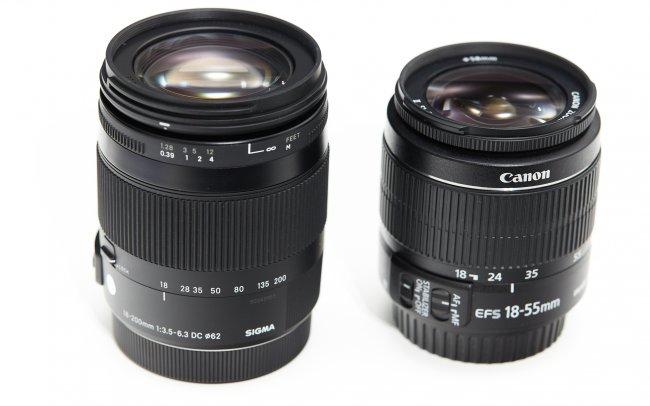 Sigma [C] 18-200 mm f/3.5-6.3 DC OS HSM Makro im Größenvergleich mit dem Canon EF-S 18-55 mm f/3.5-5.6 IS II