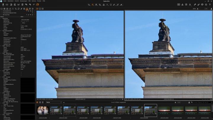 Sigma [C] 30 mm f/1.4 DC DN - Vergleich der Bildschärfe in der Bildecke | links f/1.4, rechts f/5.6