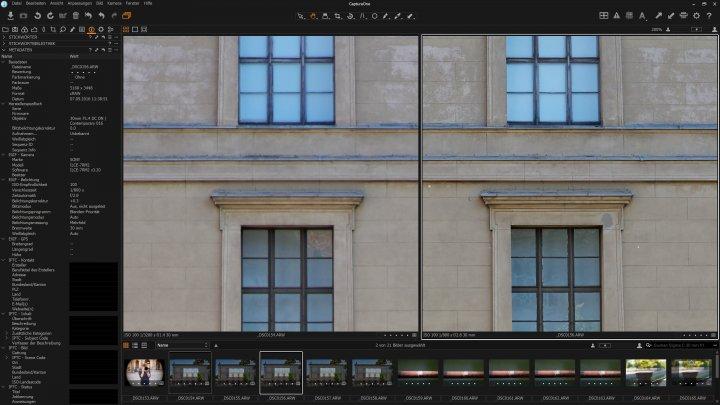 Sigma [C] 30 mm f/1.4 DC DN - Vergleich der Bildschärfe im Bildzentrum | links f/1.4, rechts f/2.8