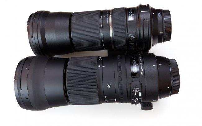 Tamron SP 150-600 mm Di VS USD und Sigma C 150-600 mm DG OS HSM im Größenvergleich