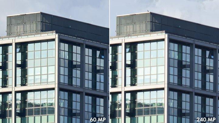 Testbild Sony Alpha 7R IV: 60 Megapixel im Vergleich zum 'Pixel Shift Multi Shoot' mit 240 Megapixel