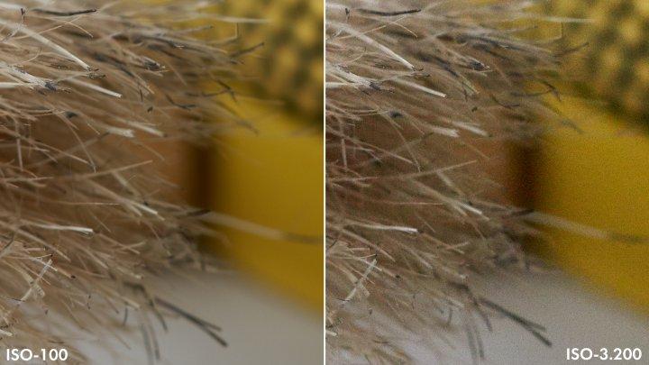 Testbild Sony Alpha 7R IV: Rauschverhalten bei ISO-100 und ISO-3200 im Vergleich