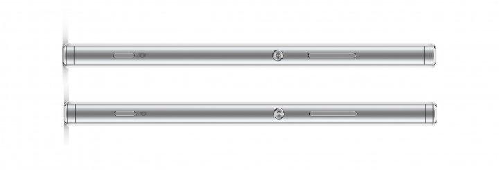 Auf der linken Gehäuseseite (oben) hat das Sony Xperia XA1 den Karten-Slot, rechts dagegen An/Aus-Knopf und Lautstärkewippe