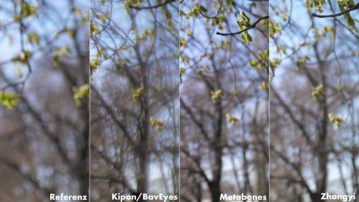 Bokeh im Vergleich: Referenz, Kipon BavEyes EF-MFT AF, Metabones Speed Booster XL und Zhongyi Lens Turbo II EF-M43 (v.l.n.r.)