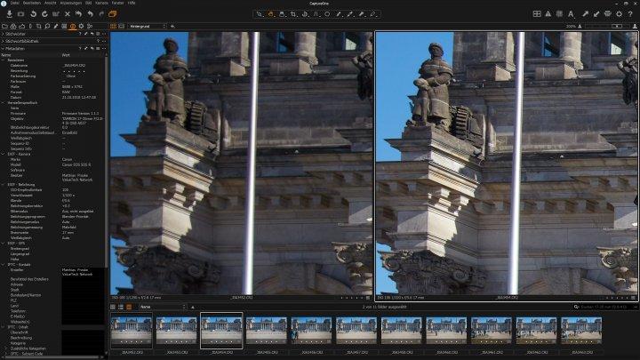 Testbild Tamron 17-35 mm f/2.8-4 Di OSD | Bildqualität bei 17 mm am Bildrand bei f/2.8 (li.) und f/5.6 im Vergleich