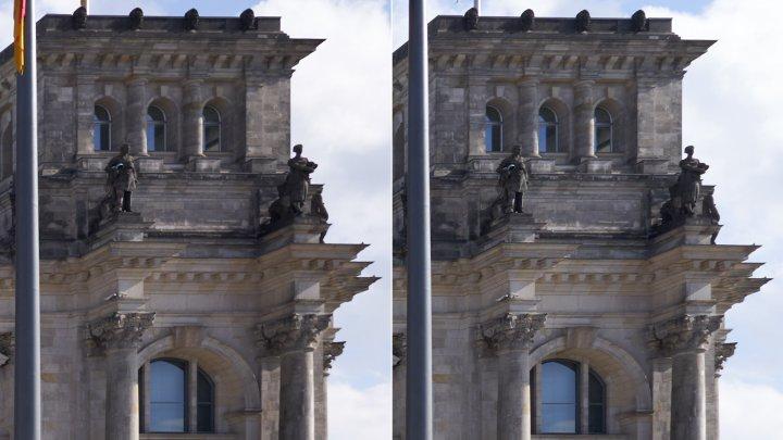 Testbild Tamron 20 mm F2.8 Di III OSD + Sony Alpha 7 III | Bildschärfe am Bildrand bei f/2.8 (li.) und f/5.6 im Vergleich
