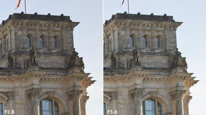 Tamron 24 mm F2.8 Di III OSD: Bildqualität am Bildrand bei f/2.8 (li.) und f/5.6 im Vergleich