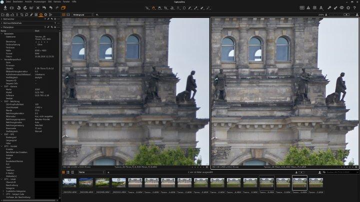 Testbild Tamron 28-75 mm f/2.8 Di III RXD: Bildqualität bei 70 mm am Bildrand bei Blende f/2.8 (li.) und f/5.6 im Vergleich