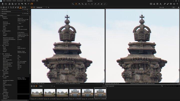 Tamron 70-210mm f/4 Di VC USD: Bildschärfe bei 200 mm am Bildrand bei Blende f/4 (li.) und f/8 im Vergleich