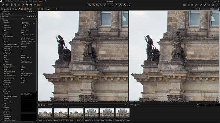Tamron 70-210mm f/4 Di VC USD: Bildschärfe bei 70 mm am Bildrand bei Blende f/4 (li.) und f/8 im Vergleich