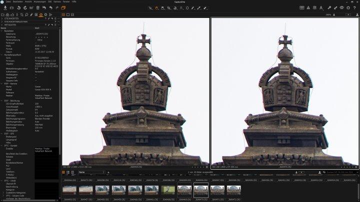 Tamron SP 70-200 mm f/2.8 Di VC USD G2 | Bildschärfe bei 200 mm am Bildrand (li. f/2.8; r. f/5.6)