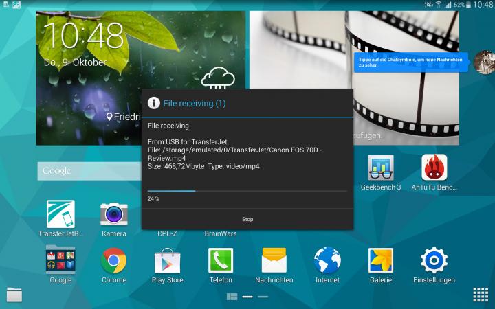 Die rudimentäre TransferJet-App unter Android in Aktion