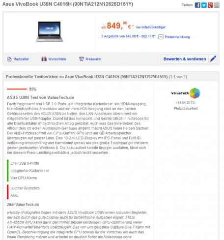 ValueTech.de Testbericht auf billiger.de