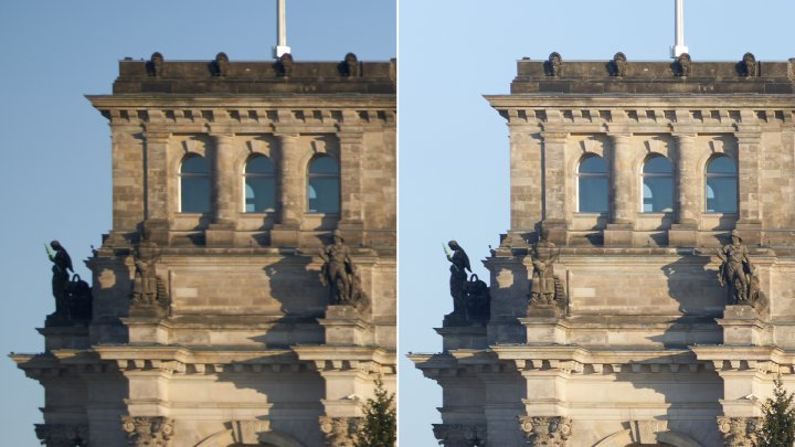 Viltrox 85 mm f/1.8 STM: Bildschärfe am Bildrand bei f/1.8 (li.) und f/8.0 im Vergleich