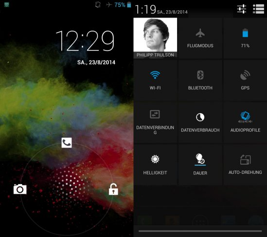 Die Oberfläche des Wiko Rainbow reicht nur geringfügig von einem Vanilla Android 4.2 ab.
