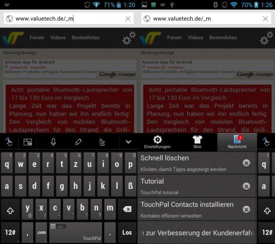 Eine der kleinen Änderungen ist die TouchPal-Tastatur, die unter anderem mit ß-Taste und anderen Features daherkommt.