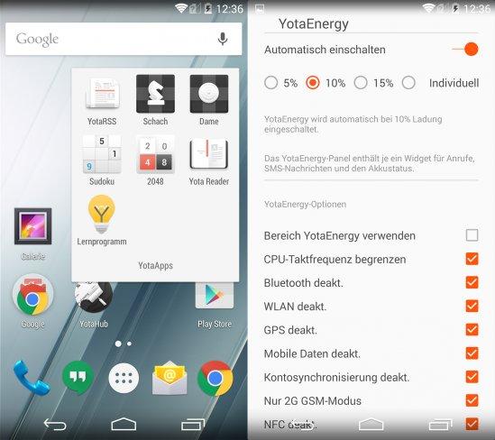 Yotaphone 2: Die Android-Oberfläche ist nahezu unverändert, nur Kleinigkeiten wie YotaEnergy wurden implementiert