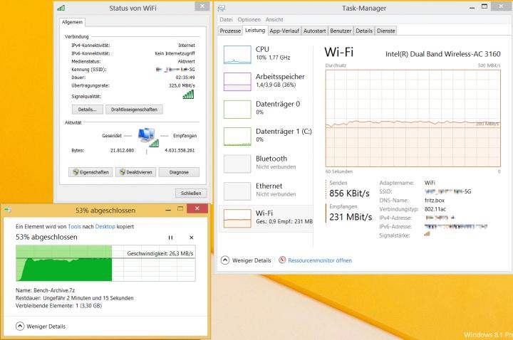Die ZOTAC ZBOX Sphere unterstützt auch W-LAN ac und erreicht real über 230 Mbit/s
